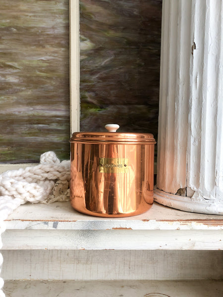 Vintage Copper Color Cookie Jar