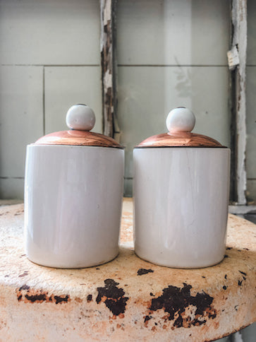 Vintage White and Copper Jar