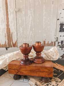 Vintage Wood & Copper Candle Holders Set of 2