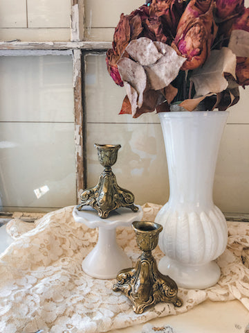 Vintage French Style Candle Holders (Set of 2)