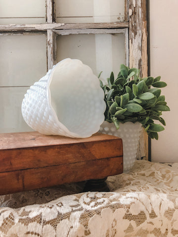 Vintage Milk Glass Hobnail Planter