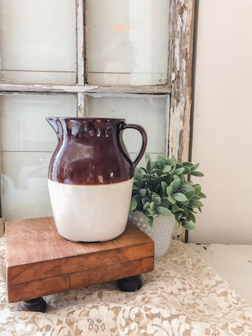 Vintage Ceramic Brown and Cream Pitcher
