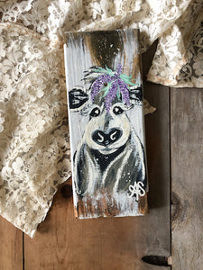 Farm Animal Painting -Wisteria Cow