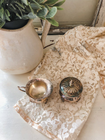 Vintage Tarnished Metal Cream & Sugar