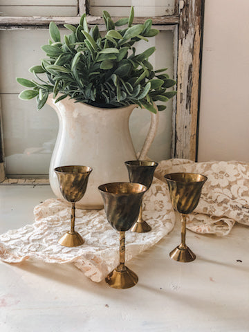Vintage Metal Miniature Goblets (Set of 4)