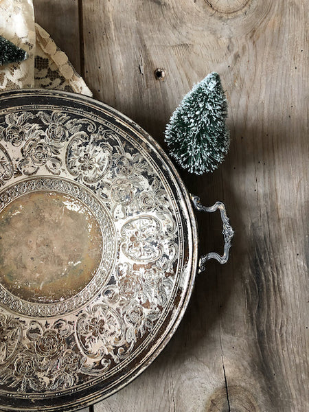 Vintage Tarnished Metal Tray