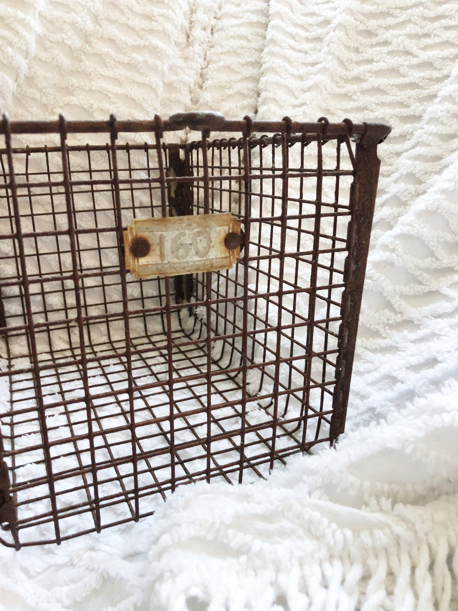 Vintage Metal Locker Basket