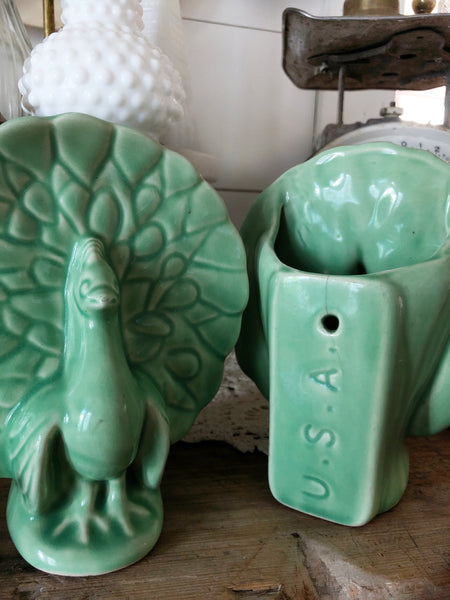 Vintage McCoy Peacock Planters Set of 2