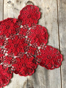 Vintage Red Crochet Doily