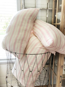Vintage Fabric Pink Striped Large Pillow