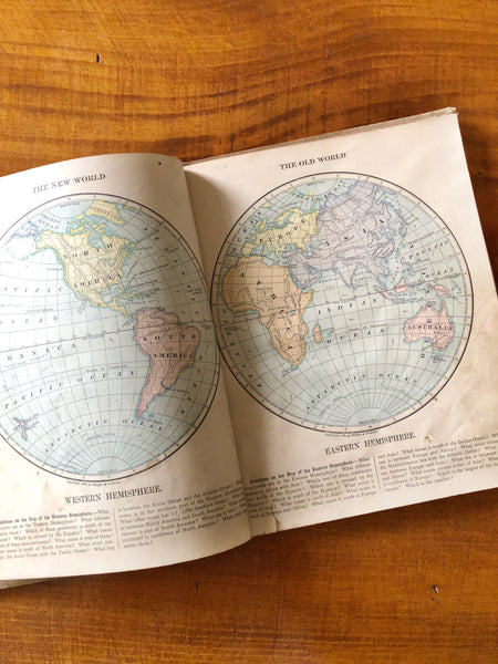 Vintage Harper's Introductory Geography 1877 Book