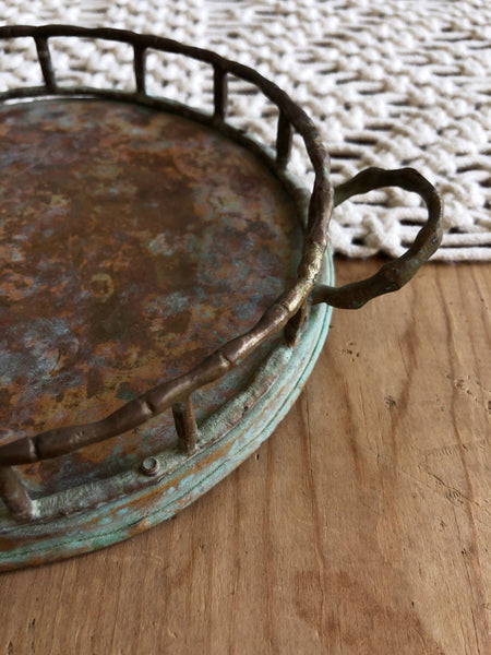 Vintage Copper Color Tarnished Metal Mini Tray