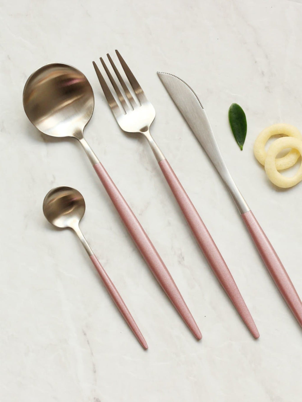 Silver and Pink Stainless Steel Dinnerware Set
