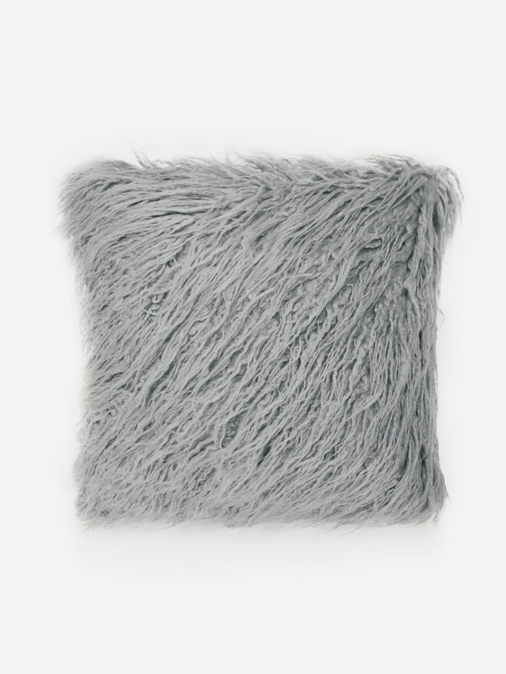 Solid Grey Faux Fur Pillowcase