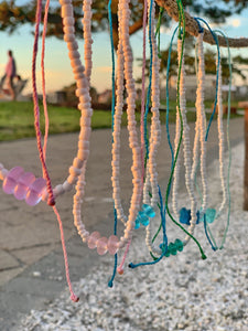 Sea Glass Seed Bead Necklaces