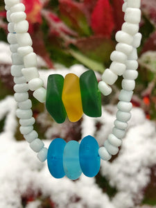 Holiday Sea Glass Seed Bead Necklaces