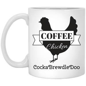 White Mug CockaBrewdleDoo 11oz.