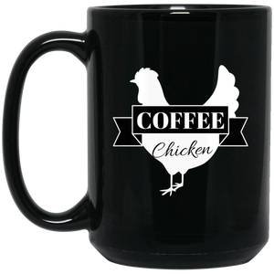Black Mug Coffee Chicken Logo 15oz.