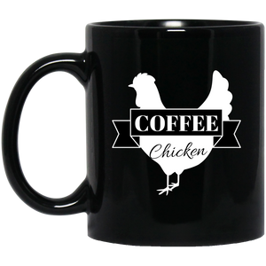 Black Mug Coffee Chicken Logo 11oz.