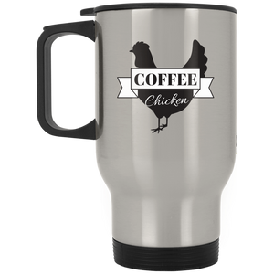Silver Stainless Coffee Chicken Travel Mug 14oz.