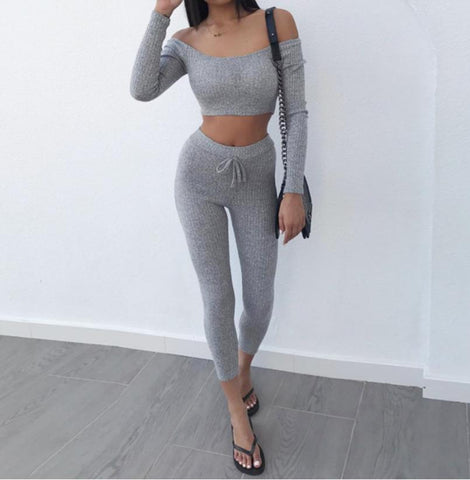 Grey Off Shoulder T Shirt Crop Top Pencil Pants Leggings Set
