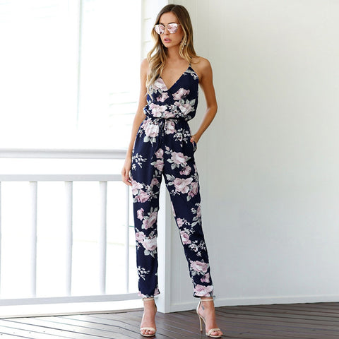 Backless V-Neck Floral Printed Loose Floral Romper