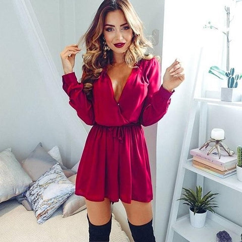 Red Long Sleeve V-neck playsuit