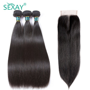 SEXAY Straight Hair Bundles With Closure Brazilian Straight Human Hair Weave 3 Bundles