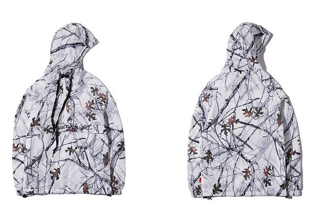 Realtree Camouflage Hooded Jacket Hip Hop Streetwear Pullover Windbreaker