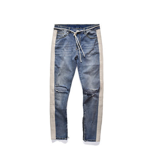 Fitted Bottoms zipper straight jeans