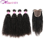Mongolian Kinky Curly Hair With Closure 100% Human Hair 3/4 Bundles With Closure