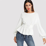 Beige Long Lantern Sleeve Top
