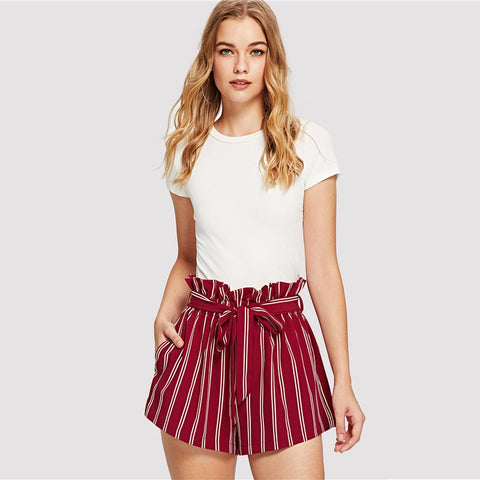 Belted Ruffle High Waist Striped Shorts