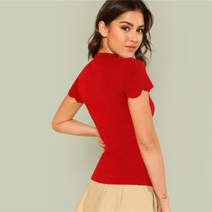 SHEIN Red Elegant Mock Neck Scallop Trim Cut Out V Neck Short Sleeve Tee