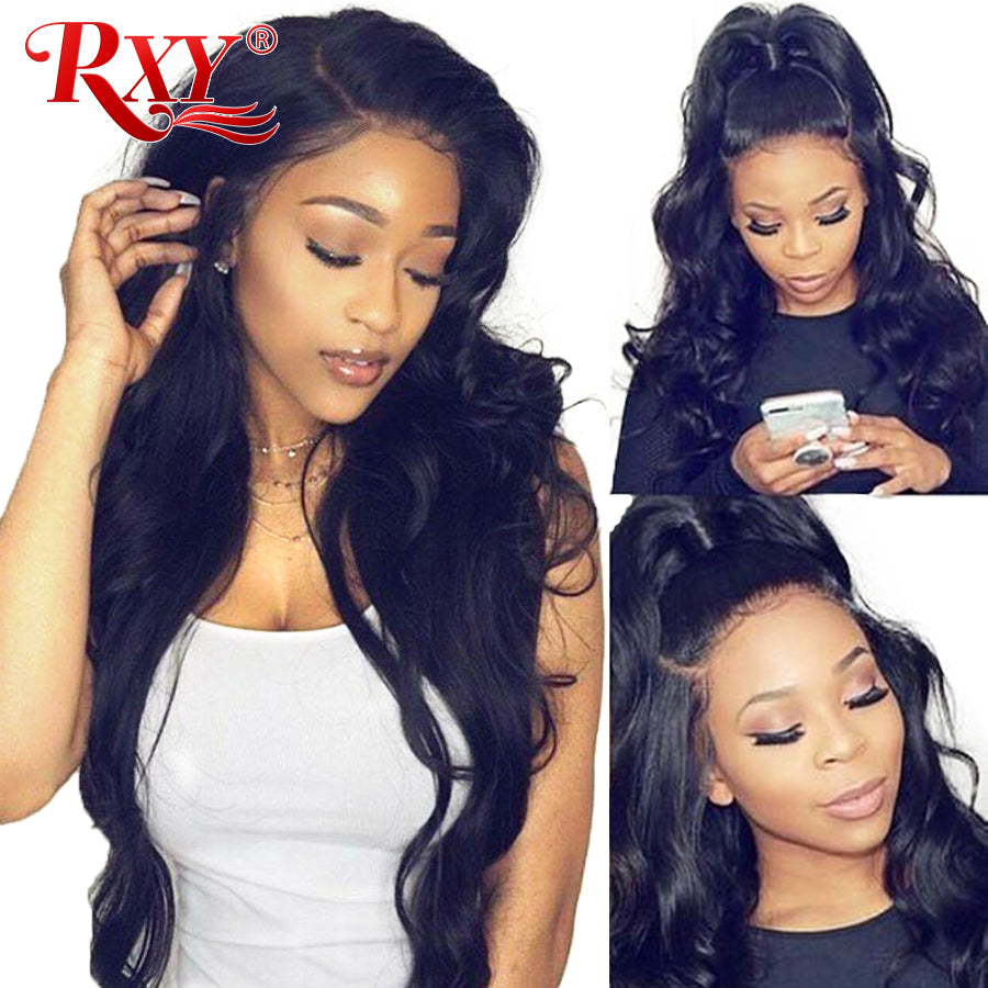 RXY Lace Frontal Wig Pre Plucked With Baby Hair Brazilian Body Wave Wig Lace Front Human Hair Wigs For Black Women Remy Hair