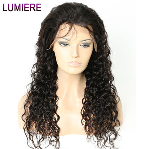 Lumiere Hair Water Curly Brazilian Lace Front Human Hair Wigs Remy Curly Hair Wig With Baby Hair Pre-Plucked #1B Black For Women