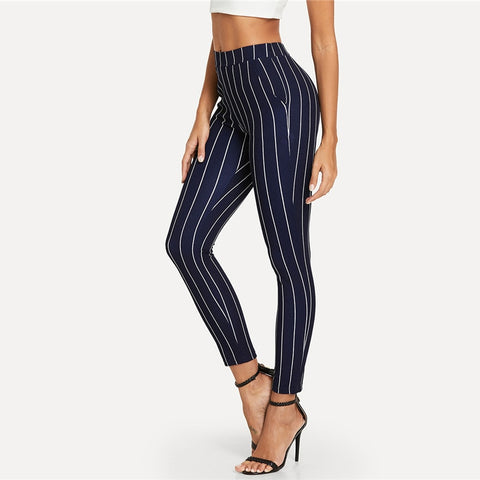 Blue Vertical Striped Skinny Pants