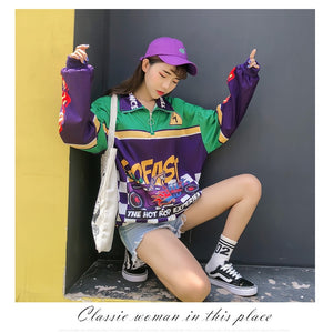 Racing car Harajuku streetwear bomber jacket windbreaker punky loose korean bts overcoat