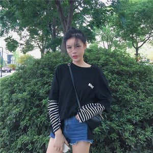 Korean Style Harajuku Print Striped Patchwork Long Sleeve T-shirt