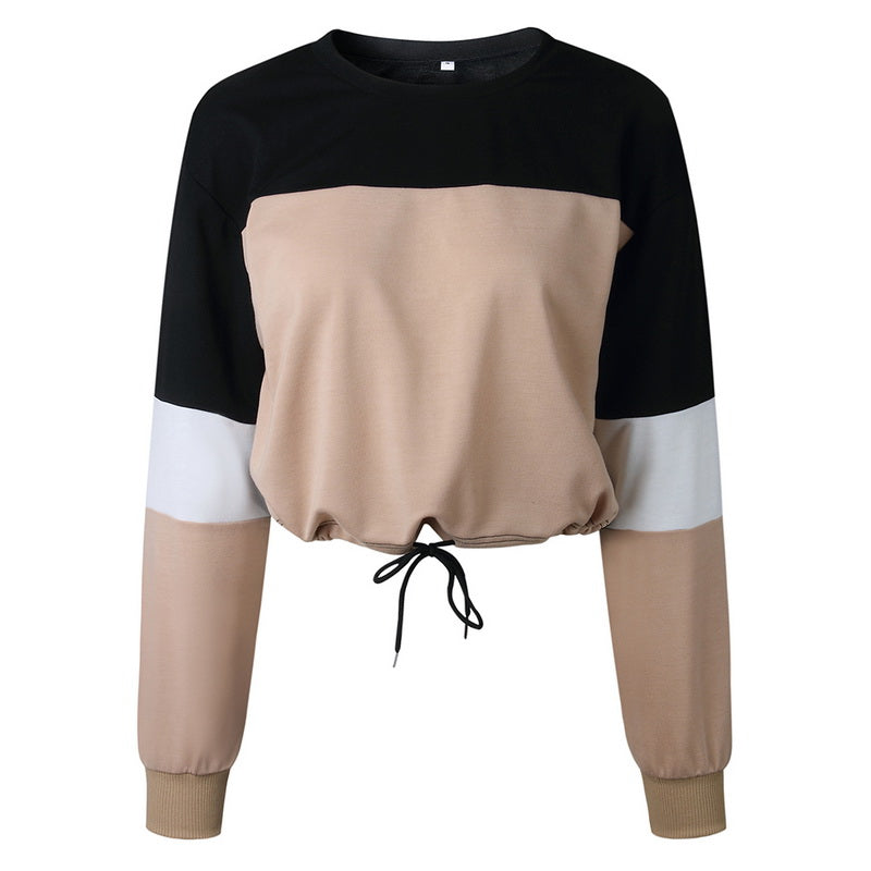 Laamei Patchwork Tshirts Women Drawstring Loose O-Neck Tee Shirts Female Long Sleeve Casual
