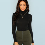 Black Turtleneck Slim Fit  Long Sleeve Top