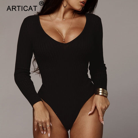 black Articat Off Shoulder Ribbed Knitted Bodysuit
