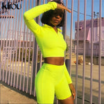 Fluorescent Green Two Pieces Turtleneck Top And High Waist Shorts Set