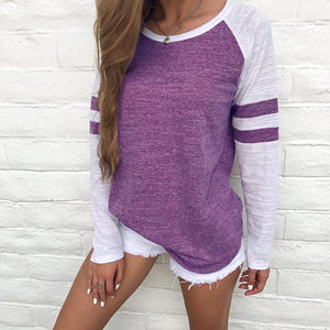 long sleeve vintage simple style o-neck t-shirt
