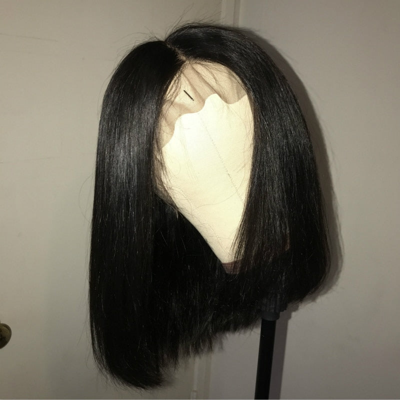 Short Bob Wig Brazilian Remy Hair Straight Lace Front Human Hair Wigs For Black Women Natural Color Lace Wig King Rosa Queen