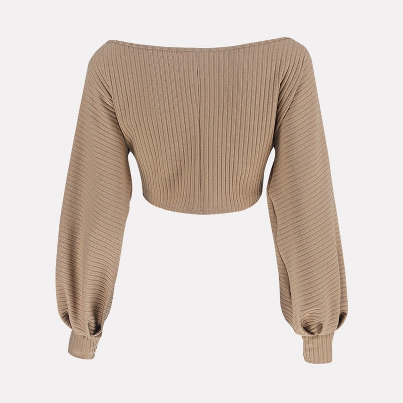 Women Sweaters Lantern Sleeve Loose Pullover
