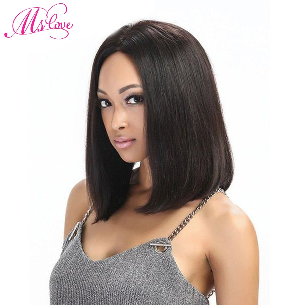 Ms Love Hair Wigs Human Hair Short Bob Wigs For Black Women Brazilian Remy Hair Lace Front Human Hair Wigs Pre Plucked