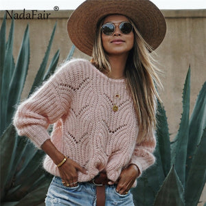 Nadafair new o neck pink knitted sweater