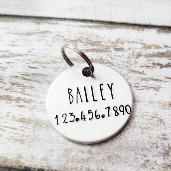 Custom hand stamped pet ID Tag