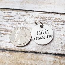 Round Dog Collar Tag with Name and Number